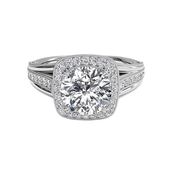 Ritani Masterwork 18 Karat White Gold Semi-Mount Diamond Accent  Engagement Ring (Setting Only)