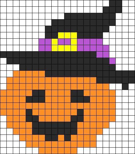 Nice Pumpkin Halloween Perler Bead Pattern