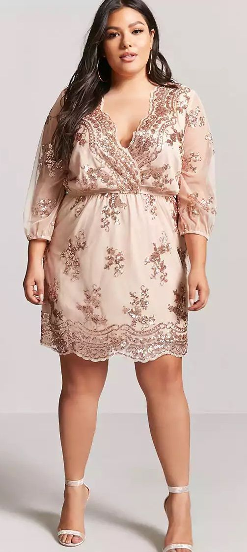 Plus Size Rose Gold Sequin Dress - Plus Size Party Dress – Plus Size Cocktail Dress #plussize #Plussizepartydress