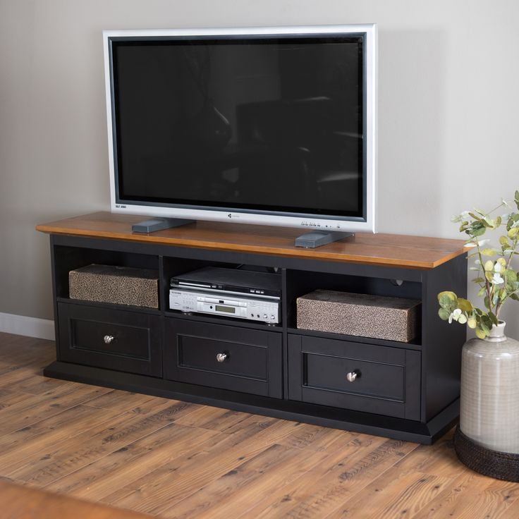 Have to have it. Belham Living Hampton TV Stand with Drawers - Black/Oak - $294.98 @hayneedle