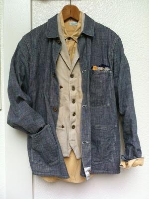 coverall + vest + shirt 黑單寧 x 咖啡色系內裏