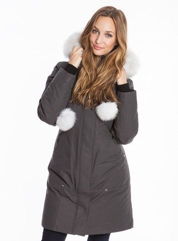 Moose Knuckles Women's Stirling Parka in Grey with White Fur