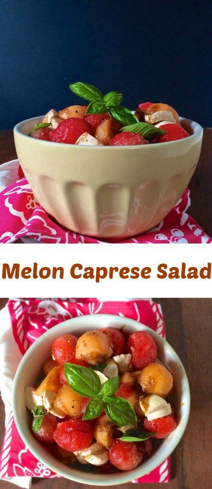 Easy summer salad: toss watermelon and cantaloupe with fresh mozzarella , basil, olive oil and balsamic vinegar  - Recipe at Teaspoonofspice.com