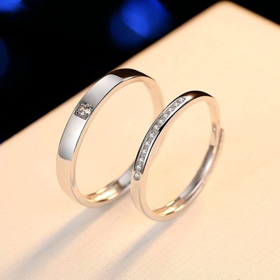 Silver Wedding Band Ring Set Classic Simple Couple Rings Etsy