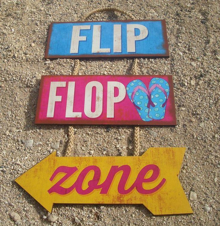 FLIP FLOP ZONE ARROW Rustic Tiki Beach Bar Wood Cantina Rope Sign Home Decor NEW #HighlandGraphicsInc #Tropical
