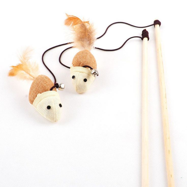 Interactive Playing Wood Wand Teaser With Fake Mouse and Bells //Price: $8.99 & FREE Shipping //     #cats