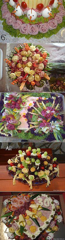 Свадебный закусочный торт. Как сделать розы из ветчины и колбасы. Мастер-класс и море тортов