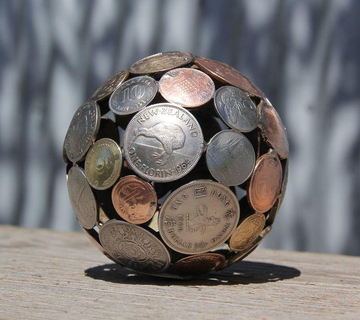 Mini mixed world coin ball, Coin sphere, Metal sculpture ornament. $55.00, via Etsy.