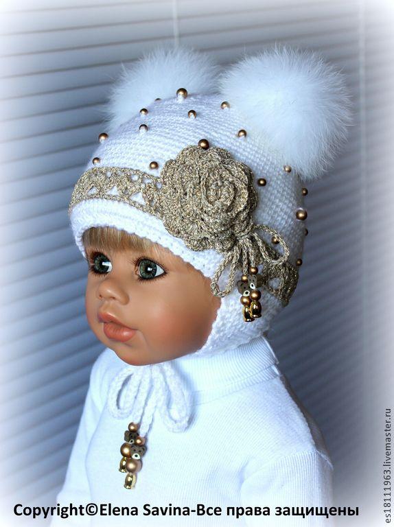"""Купить Комплект """"Снегурочка №2"""" - белый, цветочный, шапочка вязаная, шапочка крючком, шапка с помпоном"""