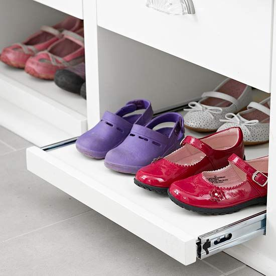 Shoe Slider  Full-extension drawer glides on these trays make shoes easy to reach -- even those tucked way back.