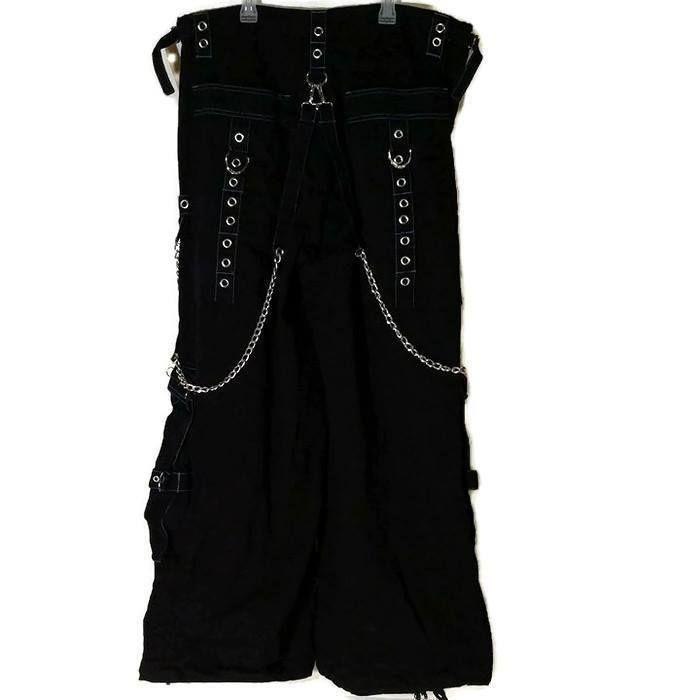 Tripp NYC Black Blue Stiching Pants Mens XL Chains Studs Rings Goth Baggy Rave #TRIPPNYC #Baggy