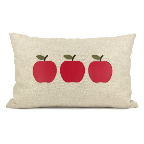 Decorative throw pillow for couch, Cottage chic, Pillow cover - Apple applique pillow cover in re and natural - 12x18 lumbar pillow cover #pinAtoZ #apples