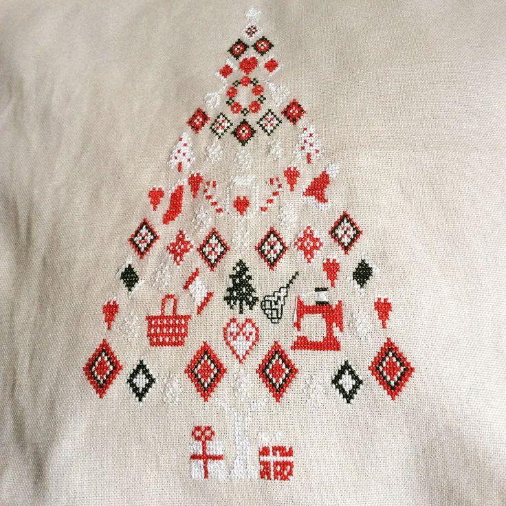 Noel tree new year cross stitch