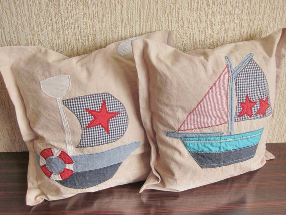 Two pillows for kids pillows nautical hadmade by NeedlesOfSvetlana