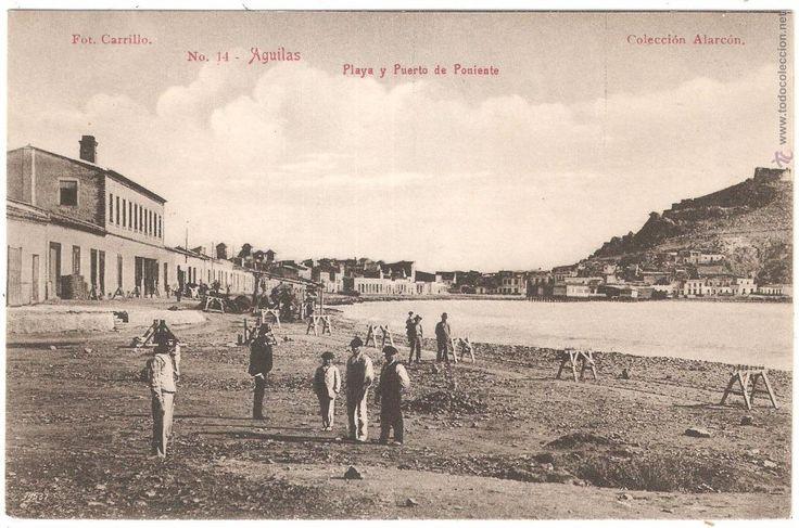 AGUILAS MURCIA PLAYA Y PUERTO DE PONIENTE 1920 (Postales - España - Murcia Antigua (hasta 1.939))