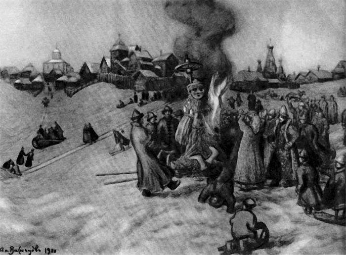 Апполинарий Васнецов Сжигание чучела Масленицы. 1920 г.