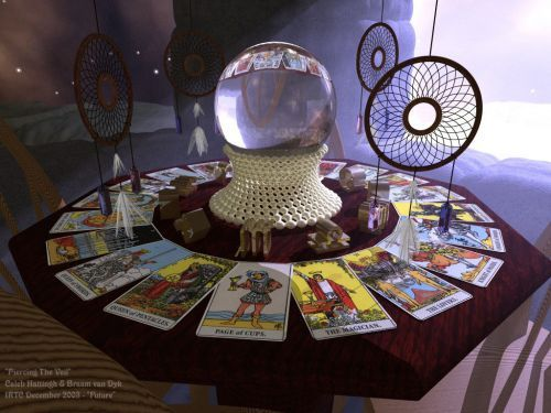 Tarot cards - love this setup and will most likely do it for my Fortune Teller corner...