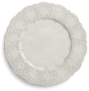 Merletto Set of Two Lace Charger Plates - Antique White traditional cable management