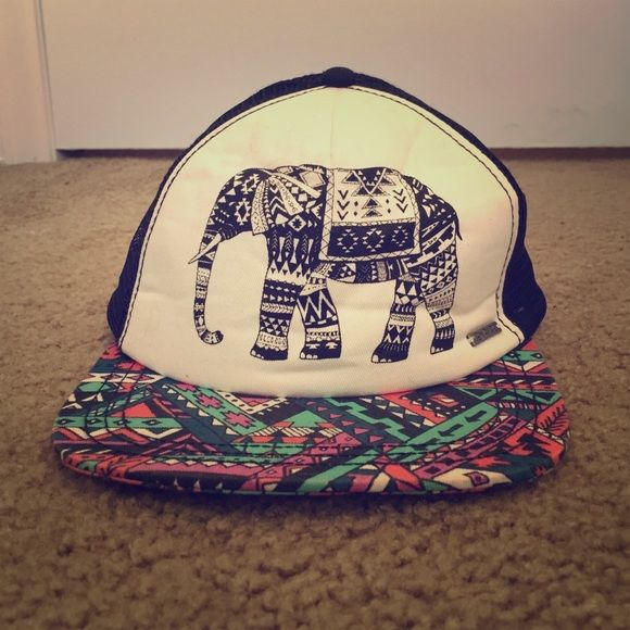 Flat-billed elephant hat Adjustable cute and Californian style hat with colorful Aztec design! Perfect for a summers day out, or a day at the skatepark! Zummies Accessories Hats