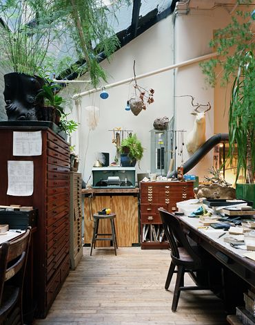 studio space - this is a personal space but I like the idea of greenery and objects on the walls for inspiration, perhaps we could leave room for something like this that could rotate -LI