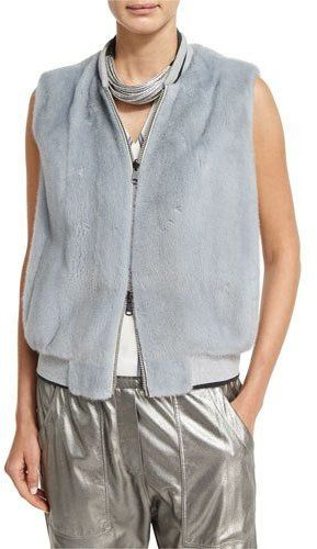 Brunello Cucinelli Reversible Mink & Leather Bomber Vest, Light Blue