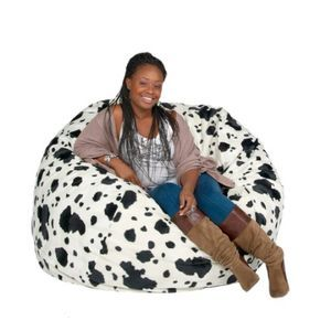 Cozy Sack Bean Bag Chair Cow Print - Large 4'