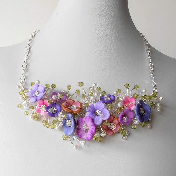 Beaded Jewelry Wire Necklace Pink and Purple Flower Cluster Bridal Statement Necklace Wire Jewelry Spring Weddings. $85,00, via Etsy.