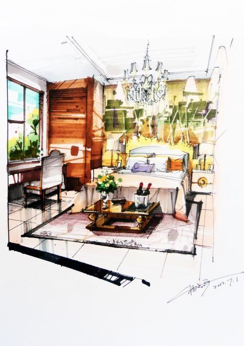 Die besten 25+ Interior design skizzen Ideen auf Pinterest - ideen fur wohnzimmer 3d renderings
