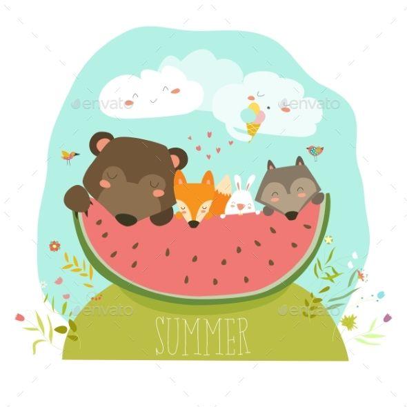 Animals Eating Watermelon Slice