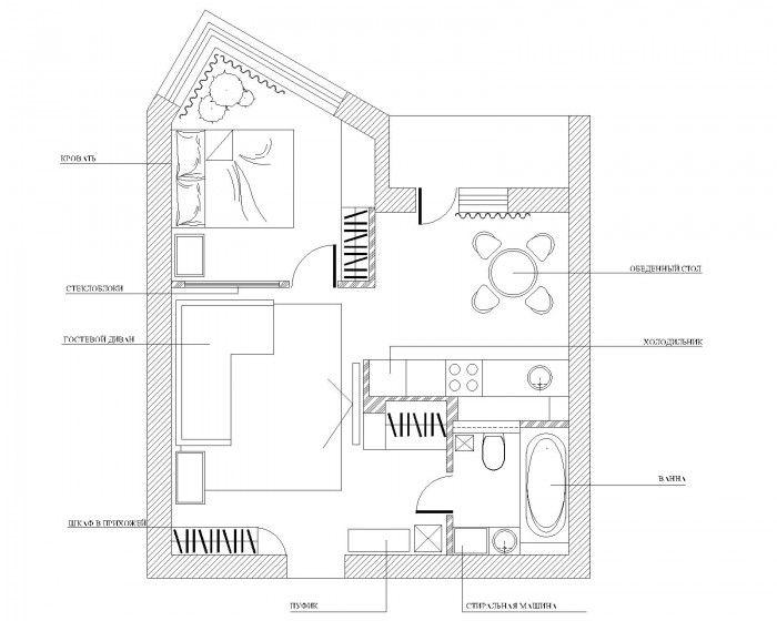 46 кв.м.  http://ideas.vdolevke.ru/posts/3106/