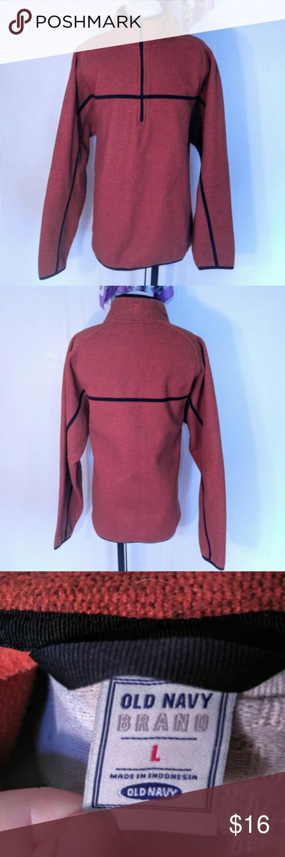 """Old Navy Burnt Orange 1/2  Zip Pullover Sweater Old Navy Burnt Orange Zip Pullover Sweater  Excellent used condition. Size: Large Measurements Taken Flat: Length: 29"""" Chest: 25"""" Materials: 100% Polyester Old Navy Jackets & Coats Lightweight & Shirt Jackets"""