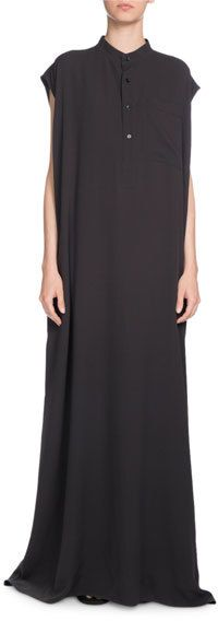 Balenciaga Mandarin-Collar Silk Crepe Maxi Dress, Anthracite