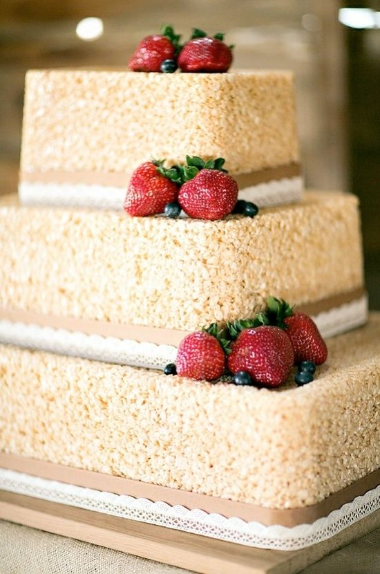 I love the idea of rice krispie treat cake!!! I'm sure it's much cheaper than a large wedding cake as well