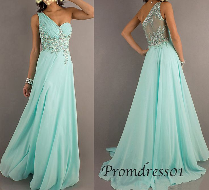 2015 ice blue beaded one shoulder chiffon long prom dress for teens, ball gown, grad dress, evening dress #promdress