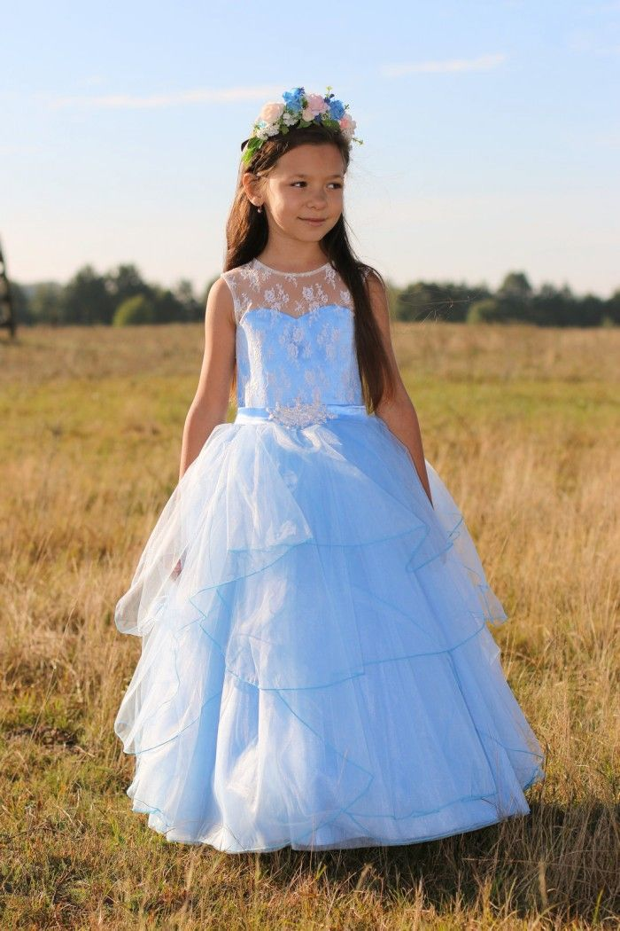 elegant light blue Flower Girl Dresses hand made cute first communion dresses for girls with appliques girls pageant gown