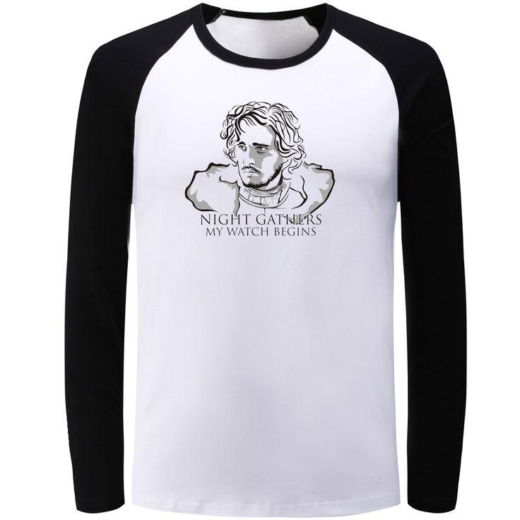 Character Long Sleeve T Shirt Men Women Game of Thrones Jon Snow Night Gathers My Watch Begins Girls Boys T-shirt Punk Tshirt - Direwolf Shop Direwolf Shop