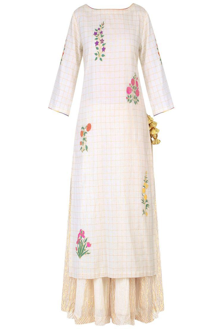 AYINAT BY TANIYA O'CONNOR | Ecru mughal botanic embroidered kurta and stripe sharara pants set available only at Pernia's Pop Up Shop.