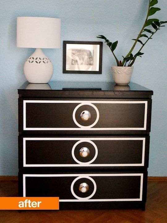 Cabinet overlays and knobs to upgrade a MALM dresser. (We have this exact one so it's good to have this DIY on hand!)