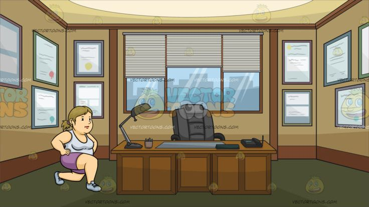 A Fat Woman Doing Lunges At The Office Of A Newspaper Editor :  An overweight woman with ponytailed blonde hair wearing a sleeveless white top purple shorts and light blue rubber shoes places her hands on her waist while doing lunges. Set in inside an office of a newspaper company with a gray executive chair brown desk glass windows gray blinds moss green floor with multiple framed diplomas hanging on the brown walls.