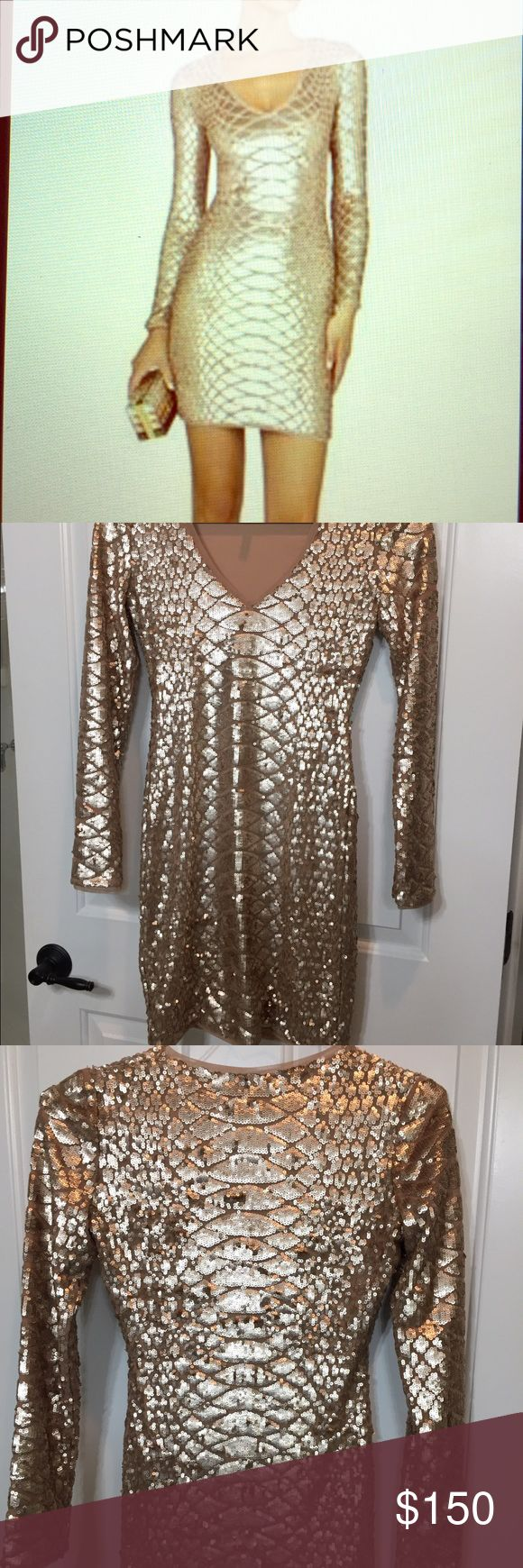 GoldMetallic Sabryna BCBG LongSleeve Bodycon Dress Gorgeous sequined bodycon dress from BCBG Maxazria. Size S but fits closer to an XS. Originally $270! Nude/Gold metallic long sleeve dress with snake print texture in sequins. Terrific condition - only worn once! BCBGMaxAzria Dresses Mini