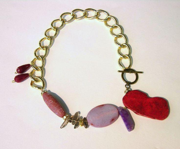 statement necklace, agates, smoky quartz, crystals