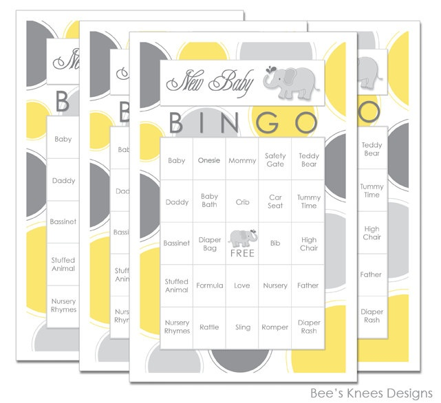 50 best elephant baby shower images on pinterest babies rooms baby shower bingo elephant themed yellow and grey you print 699 via etsy negle Images