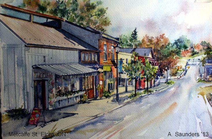 Metcalf St., Elora Ontario by Arlene Saunders - http://arlenesaunders.com/