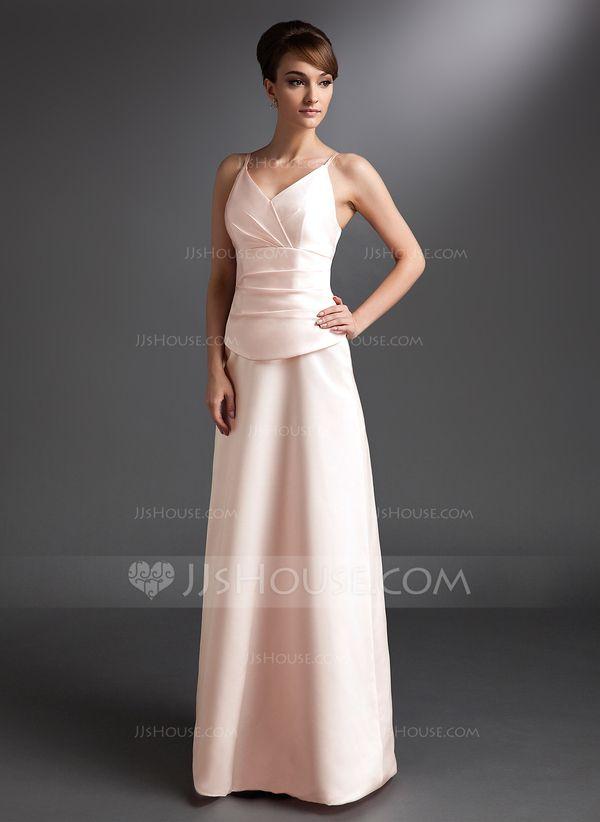 A-Line/Princess V-neck Floor-Length Satin Bridesmaid Dress With Ruffle (007001791)