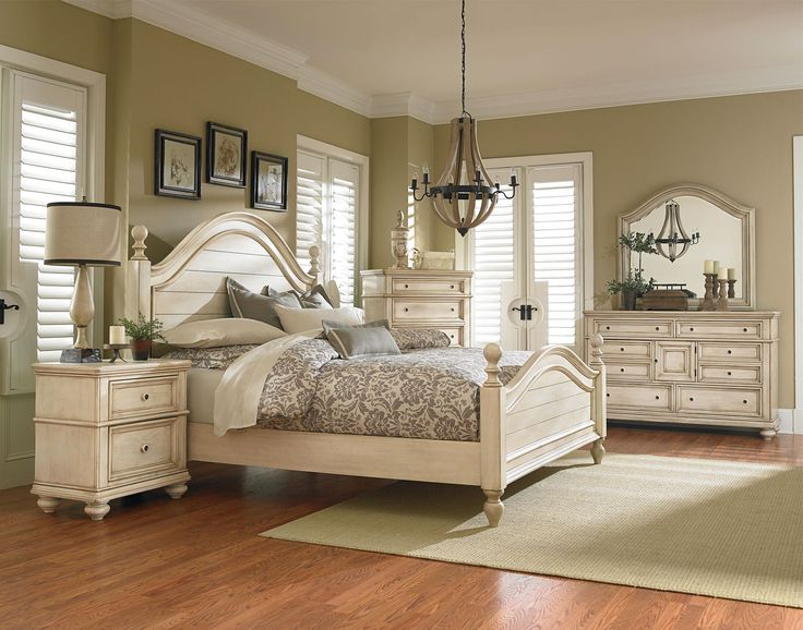 king master bedroom furniture sets Standard Furniture Chateau Poster Bedroom Set in in Bisque Paint in 2019 | Ideas for the House