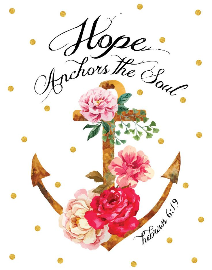 Hope anchors the soul Hebrews 6:19 Hope. It's the thing we need to stay on the path in times of trouble. It's the light at the end of the tunnel that helps us to hold on. This beautiful piece is more than just for looks... it's a reminder to have Hope. -Floral & Anchor theme -Different size options available -Instant download high resolution option
