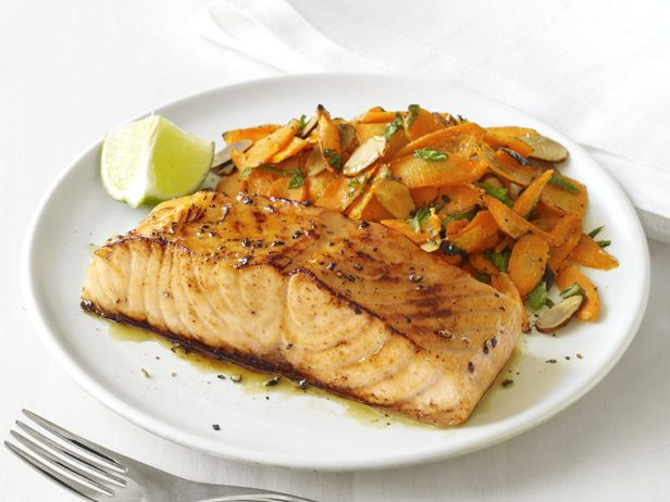glazed salmon with spiced carrots recipe glaze carrots side dish and mint. Black Bedroom Furniture Sets. Home Design Ideas