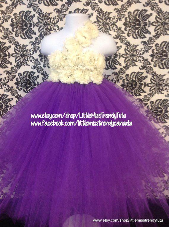 cba3545b703f One Shoulder Purple Flower Girl Tutu Dress Purple Ivory Flowers, Purple  Tutu Dress, Flower Girl Dres