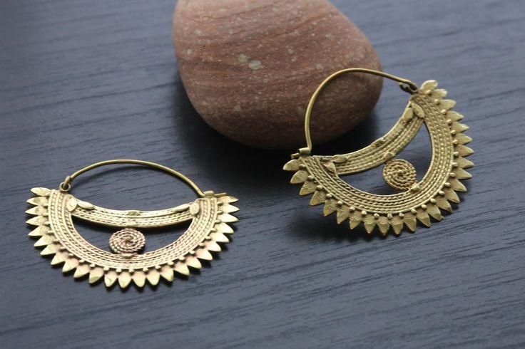 Brass Tribal Earrings - African Tribal Jewelry - AristaBeads Jewelry - 1
