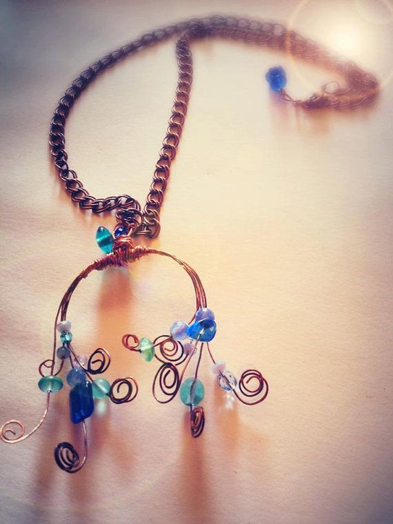 Wire wrapped necklace statement blu crystal by EmeraldsDreams, $55.00